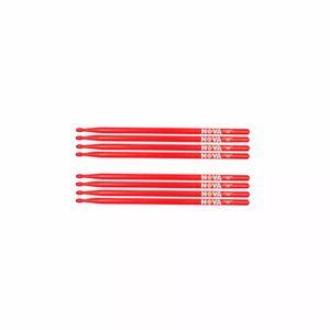 Kit-De-4-Pares-Baqueta-Nova-By-Vic-Firth-5b-Red-Madeira