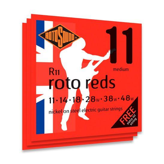 KIT-COM-3-ENCORDOAMENTO-PARA-GUITARRA-ROTOSOUND-R11-ROTO-REDS